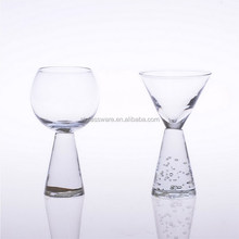 Hand Mouth Blown Crystal Clear Thick Stem Base Martini Glass Glasses