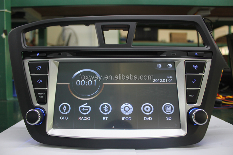 Real time GPS navigation touch screen car dvd player for hyundai i20 RHD 2015