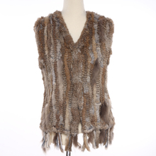 QD28610 Women Winter Sweater Vest Rabbit Fur Knitting Leather Vests with Raccoon Fur Accessories sleeveless vest