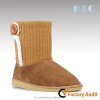 HC-105 Fur trim side faux sheep wool lining yellow one button knitting boots for women
