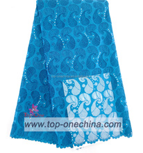 Newest nice design peacock blue high quality guipure lace fabric