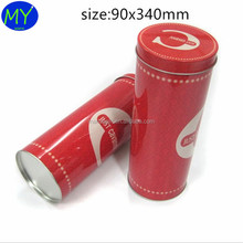 High quality long duration time cute customed cylinder round tin box for wine packaging with cheap price