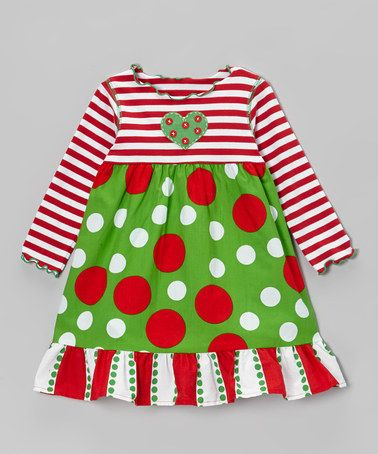 Little girls christmas boutique long sleeve red stripes clothing baby girl polka dots holiday dress