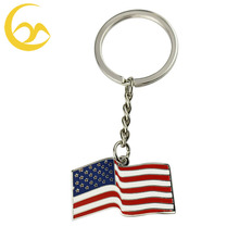Custom made metal key tag exquisite enamel key chain US flag souvenir key fobs