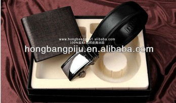 Hot selling 2013 leather wallet and belt business gift sets