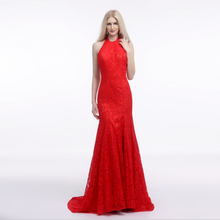 Red lace halter cold shoulder long tail backless glamorous formal bodycon best quality celebrity dress