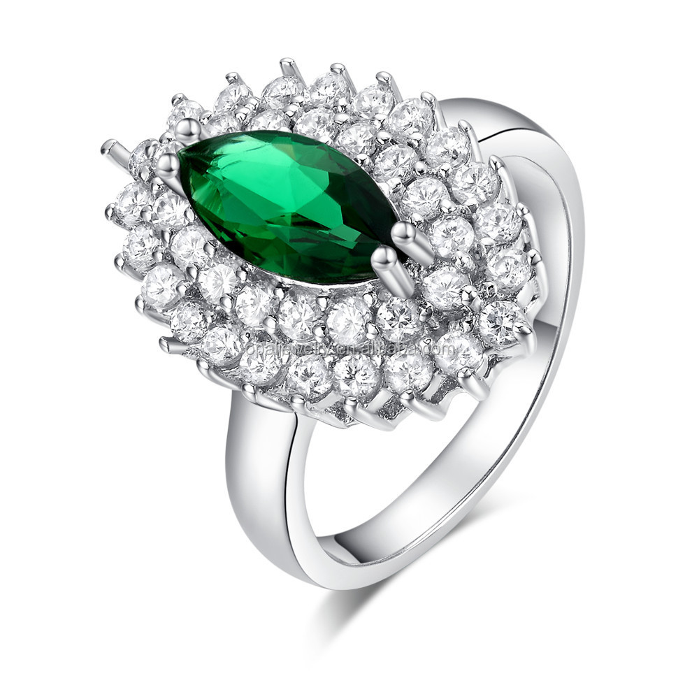 Environmental Horse Eye Shaped Rhodium Plated Green Zircon Engagement Ring