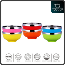 Colorful plastic coating Stainless steel bowl / cheap soup bowl