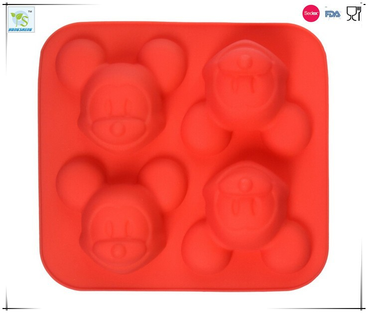 Mickey Mouse Mold 4 Cavities Silicone Cake Baking Mold Cake Pan Muffin Cups Handmade Soap Moulds Biscuit Chocolate Ice Cube Tray
