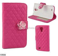 Preminum Sheepskin Grid Bling Flower Rhinestone Diamond Wallet Card Purse Handbag Phone Leather Case For Acer Liquid Z2