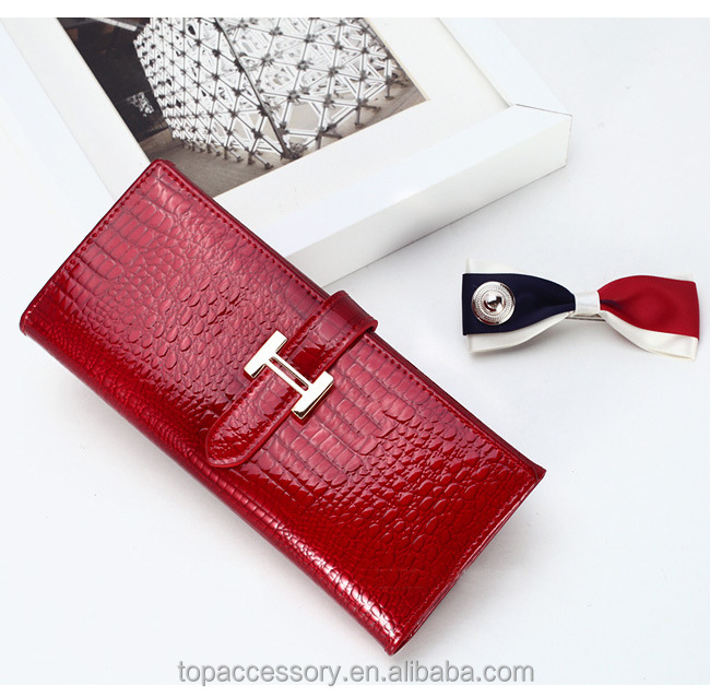 Design of Crocodile Skin, Fashion Style, PU leather wholesale wallet for lady, 3 colors available