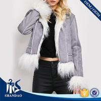 Fashion Design 2017 Shandao Faux Fur Patchwork Turn Down Collar Long Sleeve Women Coat