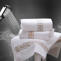 100% Cotton Hotel Bathroom Towel Sets/High Quality Luxurious Embroidery Hotel Terry Towel