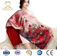 Shanghai Story Luxurious 100% Silk Charmeuse Long Scarf Rose Flowers Pattern wholesale scarves