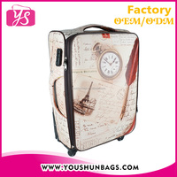 Hot sell PU leather European style carry on 24 inch trolley luggage