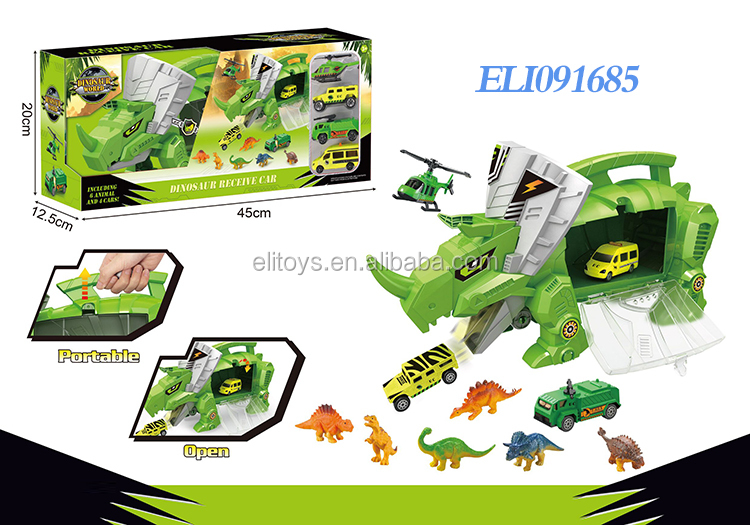 Hot sale dinosaur car transport car carrier truck toy dinosaur toy for kids with cars