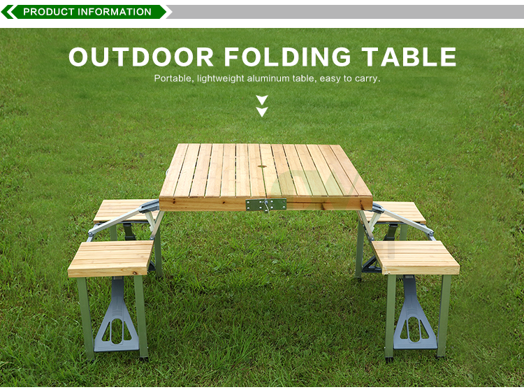 wooden aluminum foldable outdoor camping picnic folding tables and chairs