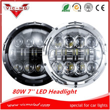"7"" inch round 80w led Head Lights headlight chrome Cars for jeep wrangler"