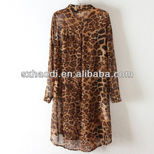 Leopard grain paragraph single-breasted grows in chiffon dress