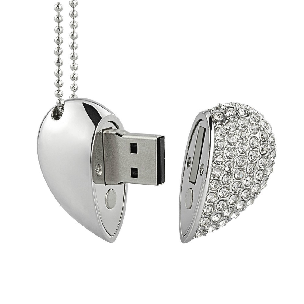 Holiday gifts Fashion Jewelry Crystal Heart USB flash pen drive memory stick 16GB
