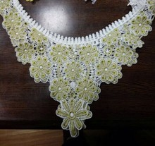 Yellow and white fashionable polyester neck lace/double color/cotton lace patch