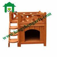 Indoor Pet Dog Wood House with Side Steps and Balcony
