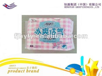 Daytime Popular sanitary pad sanitary napkin with green ADL and PE cover