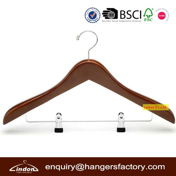 Assessed Supplier LINDON Two PVC clips walnut color wooden luxury suit hanger
