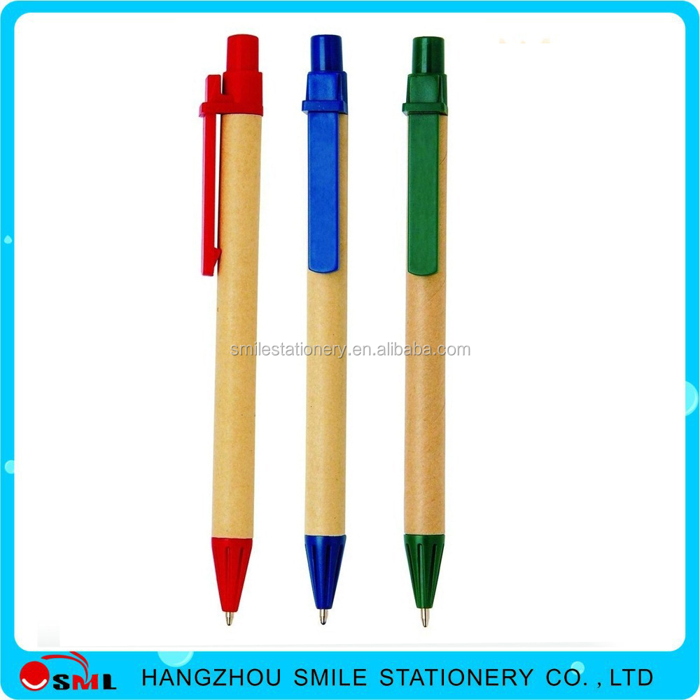 Dull Polish rainbow custom logo Eco Recycled Paper plastic ball pen
