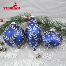 High class elegant blue 6cm hanging christmas glass ball with shiny flower