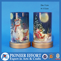 Hot selling snowy winter Christmas glass LED decoration with snowman and santa painting