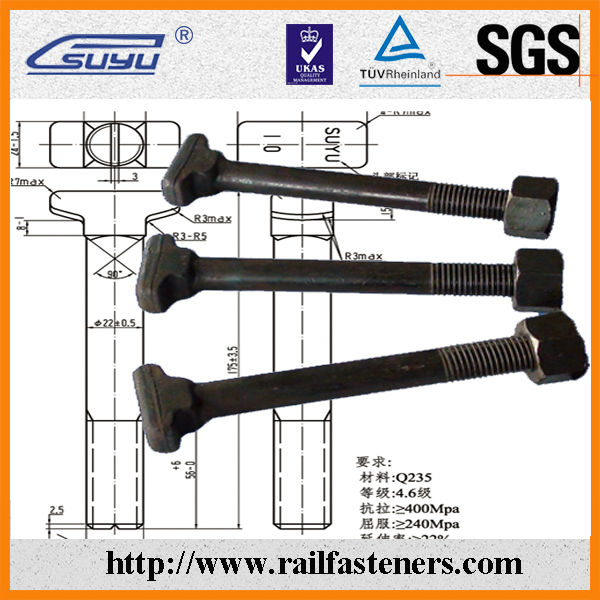 Russian T bolt, clip bolt for railroad,suyu railway fastenser