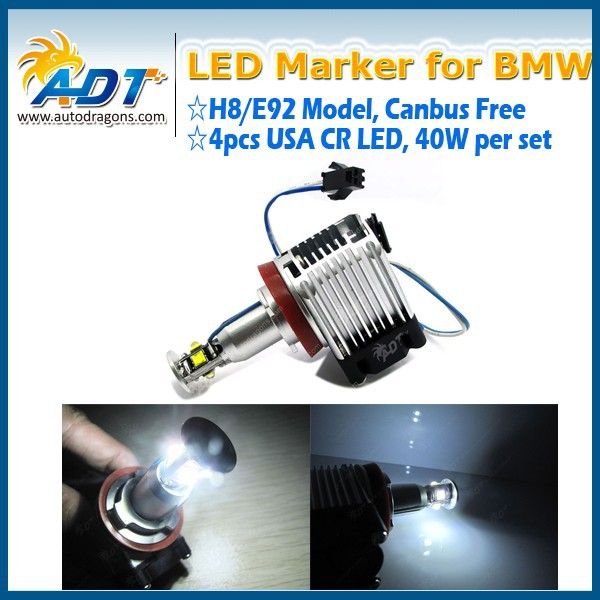 40W USA CR E92 H8 LED Angel Eyes Halo Ring Marker Light Bulbs Xenon White 6000K for BMW E87 E82 E90 E91 E92 E93 E60 E61 E84