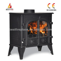 modern wood burning stove with boiler