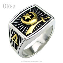 Punk Men's Silver White Gold Plated Moon and Star Sword Finger Rings Jewelry