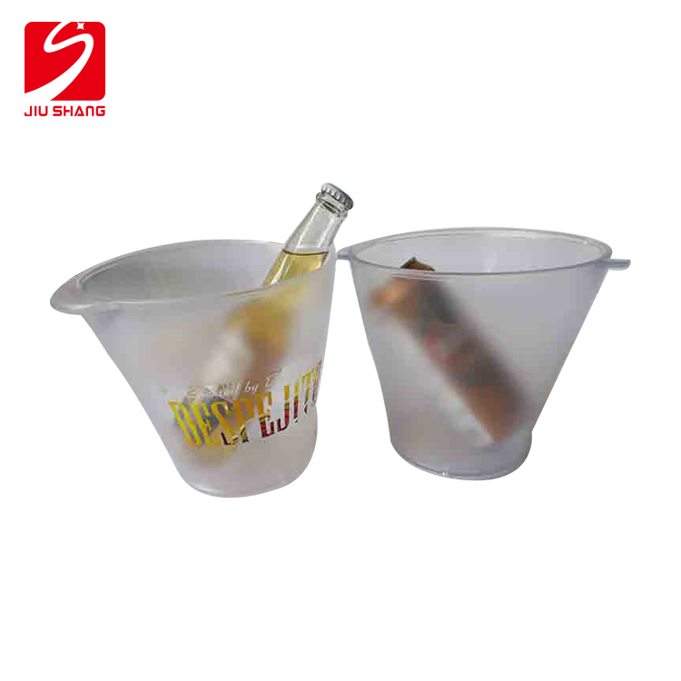 Factory direct supply printed logo clear champagne bucket plastic wine cooler