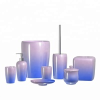 Purple Blue Ombre Ceramic Beach Bathroom Decorative Set for Hotel