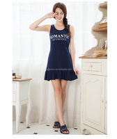 Knitted cotton blue short sleeve ruffled woman slim babydolls chemises woman dresses summer