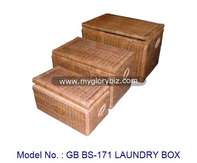 Natural Rattan Laundry Box Furniture For Storage In Set, rattan indoor furniture, 3 laundry boxes set