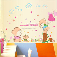 Cute pink teddy bear Wall decals children room Cartoon button PVC wall decor stickers bedroom the head of a bed decal