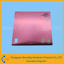 anodized pink color metal label ub