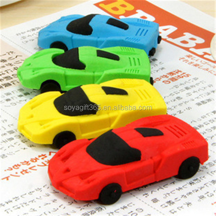 New 4 Color Cute Mini Car Eraser For Children's Study Article Rubber