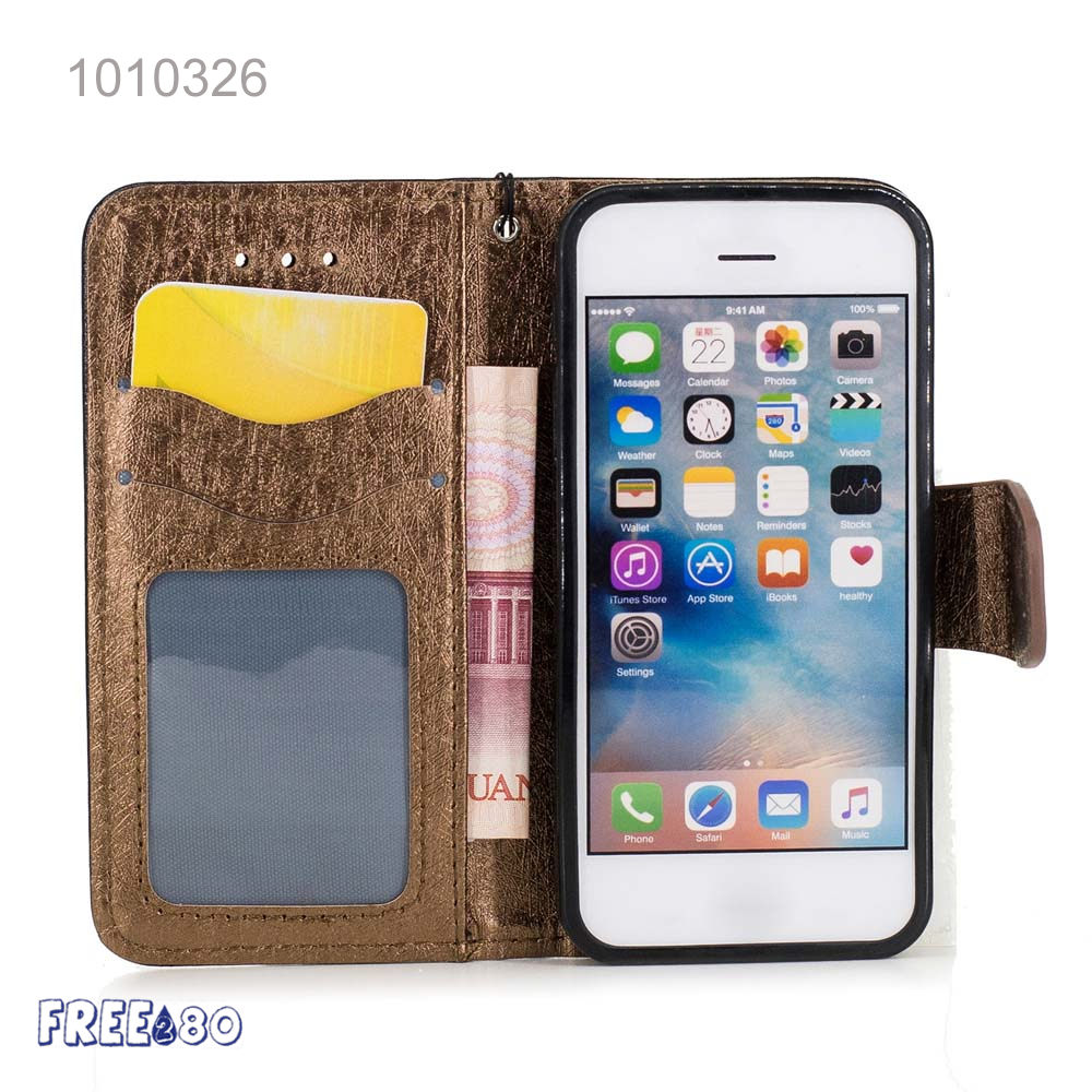 2016 Silk Pttern Pu Leather Stand Mobile Phone case for iphone 5, 5s