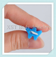 Sky blue color Silicone star flared custom flesh ear tunnel plugs Real manufacturer