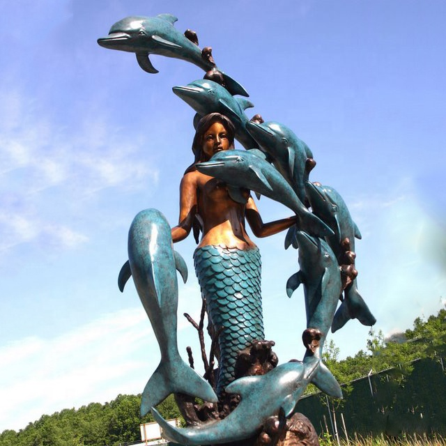 modern design life size mermaid statue with seven dolphins water fountain for outdoor sea park ornament