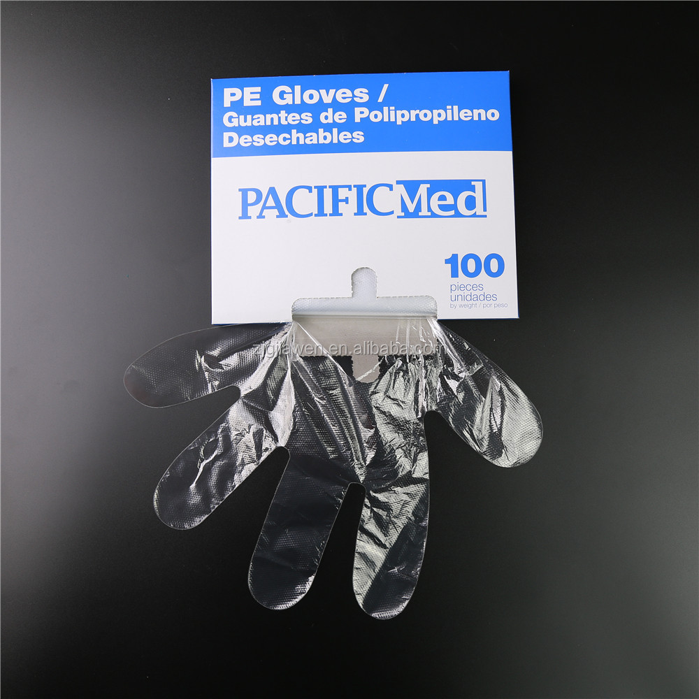 Food Grade Transparent poly disposable plastic embossed pe gloves