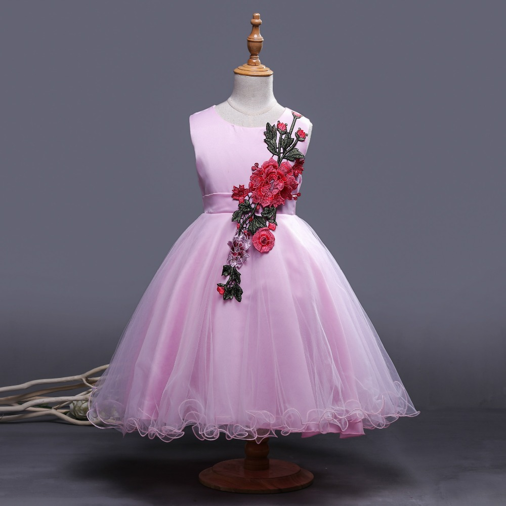 S17155A Wholesale Fashion Kids Frock Designs Girl Wedding Dress