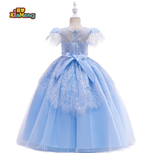 2019 new design girl party <strong>dress</strong> Cuhk long children's wedding <strong>dress</strong> with lace pompadour <strong>girl's</strong> birthday <strong>dress</strong>