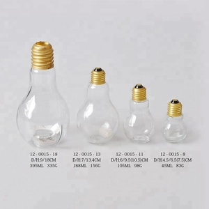 Free sample Hotsale 200ML/300ML/400ML/500ML/800ML fashion clear lamp light beverage drinking bulb shaped glass bottle with straw