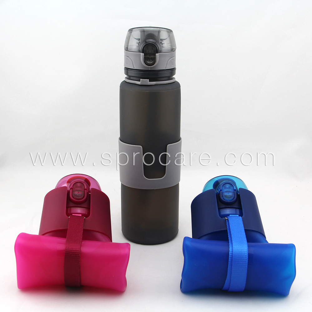 Silicone Collapsible Water Bottle 22 Ounce BPA Free Foldable Bottle